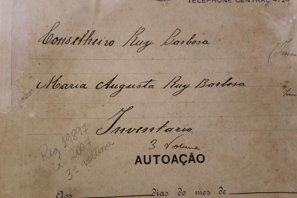 Capa do inventário do jurista Ruy Barbosa - falecido em 1 de março de 1923 na cidade de Petrópolis - R.J.